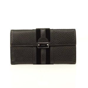 Auth Gucci Wallet Black Leather #6055G82